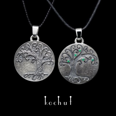 Double pendant «Tree of Life». Silver, emeralds, oxidation