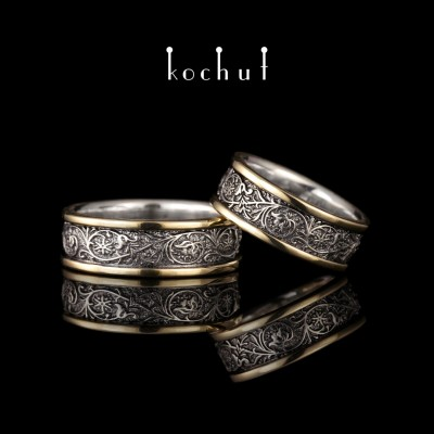 Wedding rings «Harmony of nature» with two rims. Silver, yellow gold, black rhodium