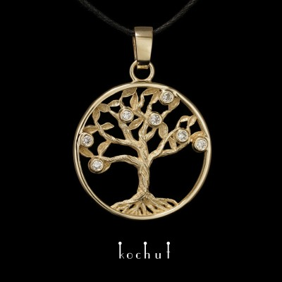The pendant «Tree of life». Yellow gold, diamonds