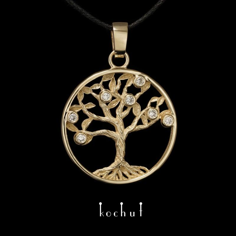 Anhänger «Lebensbaum». Gelbgold, Diamanten