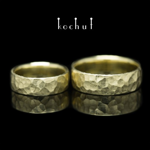 Forged wedding rings «New Era». Yellow gold