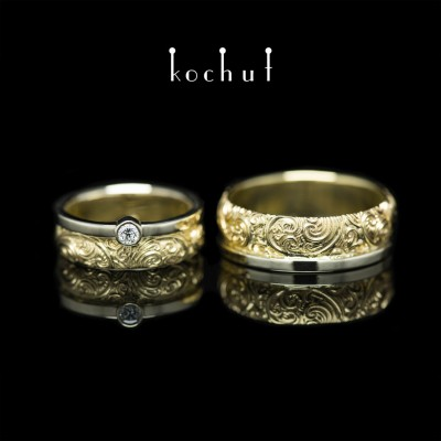 Wedding rings «Invincibility of feelings». 18K White and yellow gold, diamond