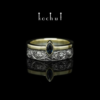 Ring «Harmony of nature.» Silver, yellow gold, sapphire, diamonds