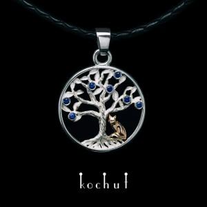 Кулон «Сапфірове дерево. Лисеня». Срібло, червоне золото, сапфіри