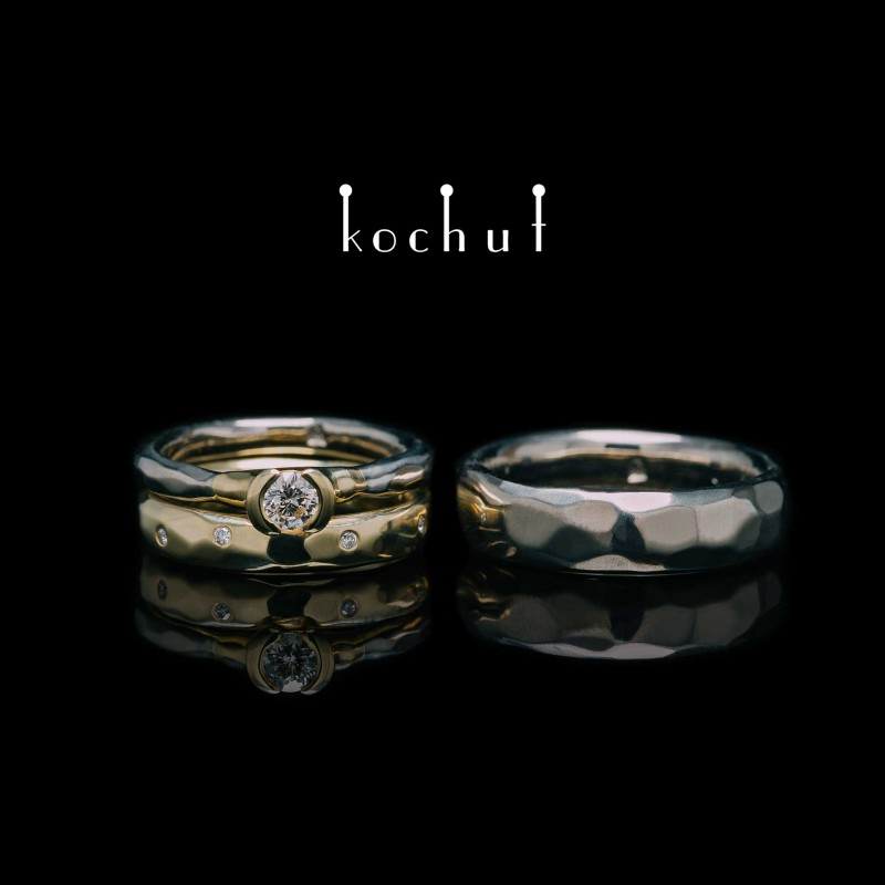 Комплект: обручки і каблучка для пропозиції «Абсолют». Паладієве золото, жовте золото, діаманти