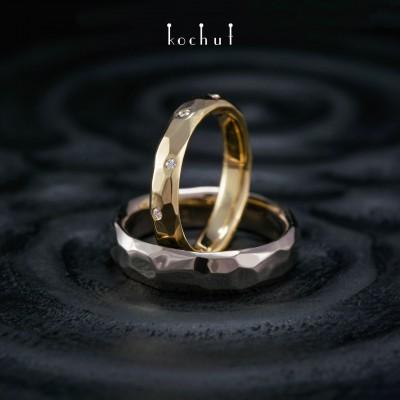 Обручальные кольца «Абсолют». Палладиевое золото, желтое золото, бриллианты