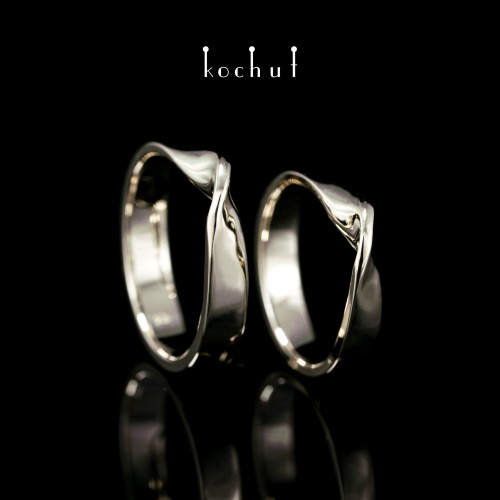 Wide wedding rings «The Mobius Tape». White gold