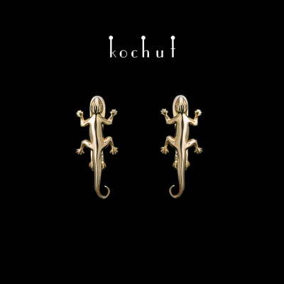 Earrings «Salamander». Yellow Gold, English Clasp