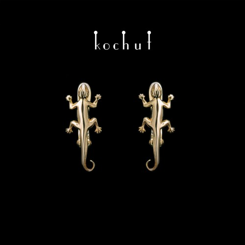 Earrings «Salamander». Yellow Gold, English Clasp