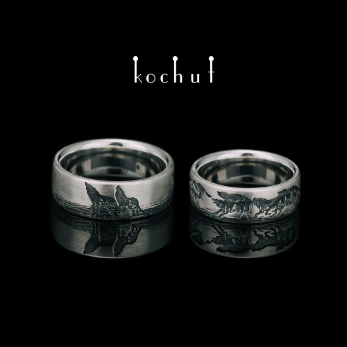 Wedding rings «Wolves». Americans. Silver, oxidation