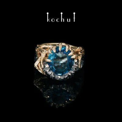 Ring «Dominant». Silver, yellow gold, topaz, oxidation