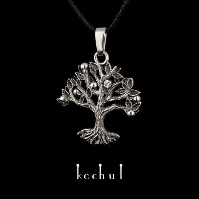 Кулон «Дерево життя». Срібло, оксидування, діамант