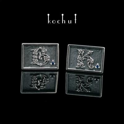 Cufflinks «Celtic» with initials in the Celtic style. Silver, oxidation, sapphires