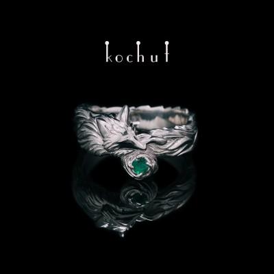 Prsten «Liška». Stříbro, bílé rhodium, smaragd