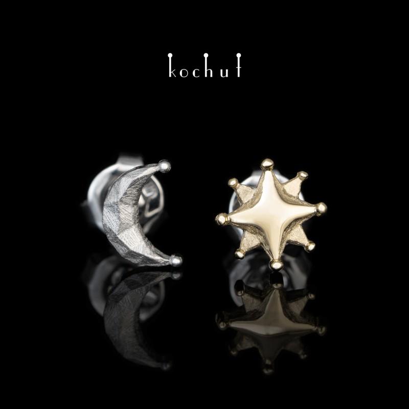 Сережки «Сонце і Місяць». Срібло, жовте золото, білий родій