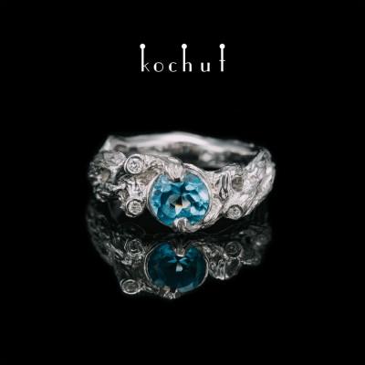 Кольцо «Новое Переплетение». Серебро, топаз, бриллианты, белый родий