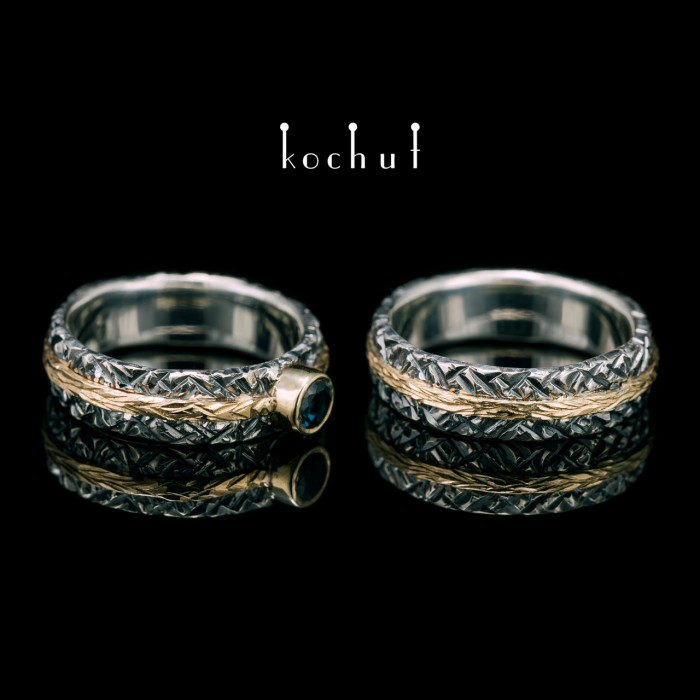Wedding rings «Citadel». Silver, yellow gold, topaz london blue