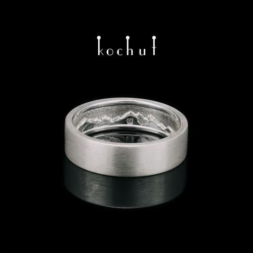 Matte ring «Mountains inthe soul». Silver