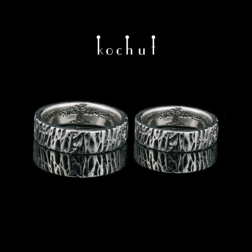 Wedding rings «Tree ofLife» with the texture ofoak bark. Silver, oxidation