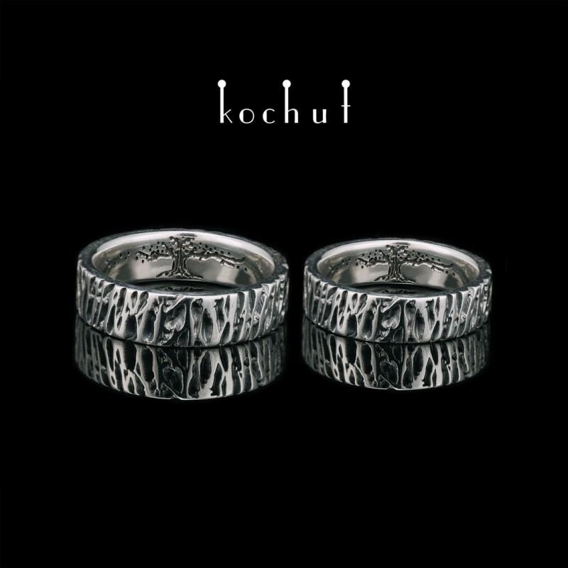 Обручальные кольца «Дерево жизни, кора дуба». Серебро, оксидирование