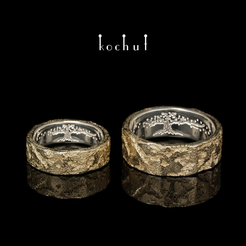 Обручальные кольца американки «Душа и тело с древом жизни внутри». Серебро, наплавление желтого золота