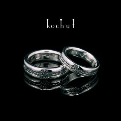 Глянцевые обручальные кольца «Благородные корни». Серебро, оксидирование