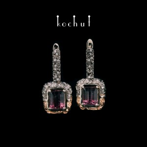 «Earrings ofthe universe.» White and red gold, polychrome tourmaline