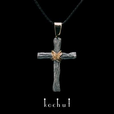 Крестик «Смирение» с ушком. Серебро, оксидирование, желтое золото