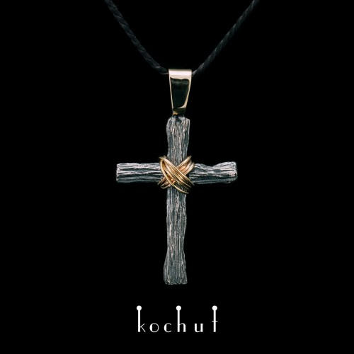 Cross «Humility». with ear Silver, oxidation, yellow gold