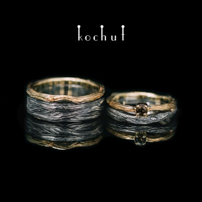 Wedding rings «Eye of the forest». Silver, gold, smoky quartz
