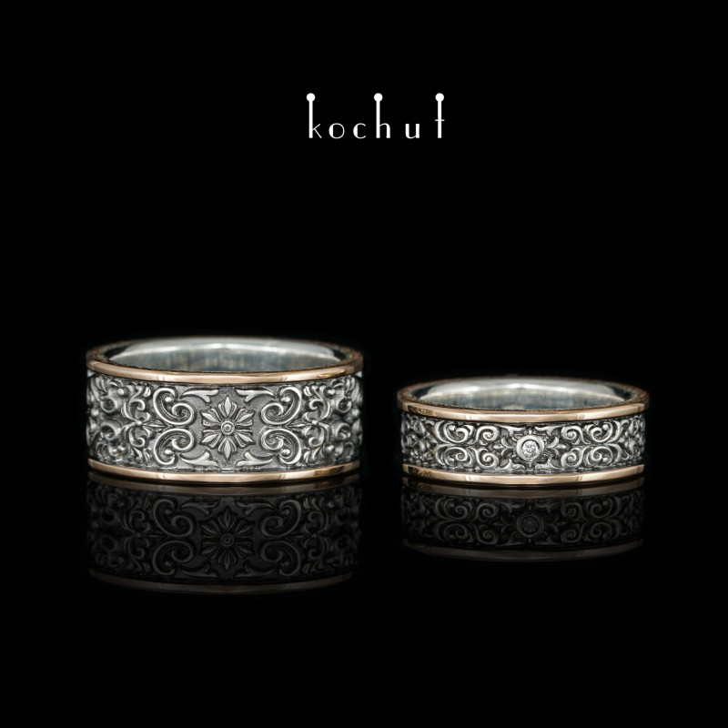 Обручальные кольца «Нотр-дам». Серебро, красное золото, бриллианты, черный родий