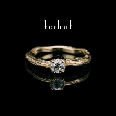 """Ring """"Winter Zweig"""". Gelbgold, Diamant"""