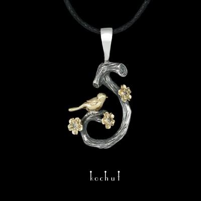 Кулон «Пташка на гілочці. Весна». Срібло, золото, діаманти, оксидування