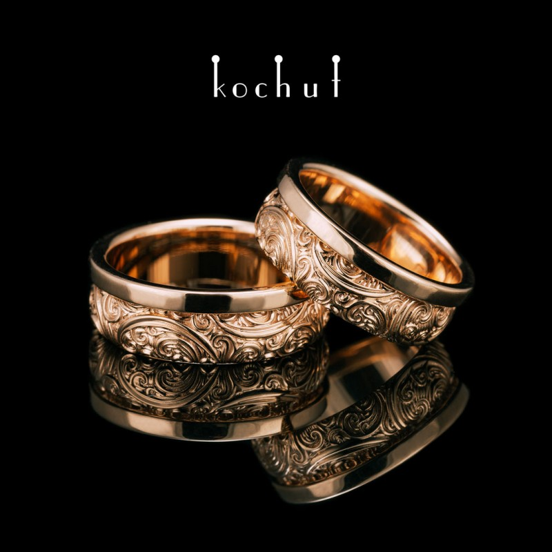 Snubní prsteny «Nepřekonatelnost smyslů». Červené zlato