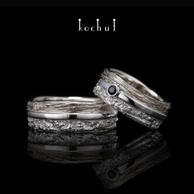 Wedding rings «In joy and in sorrow». White gold, silver, white rhodium, sapphire