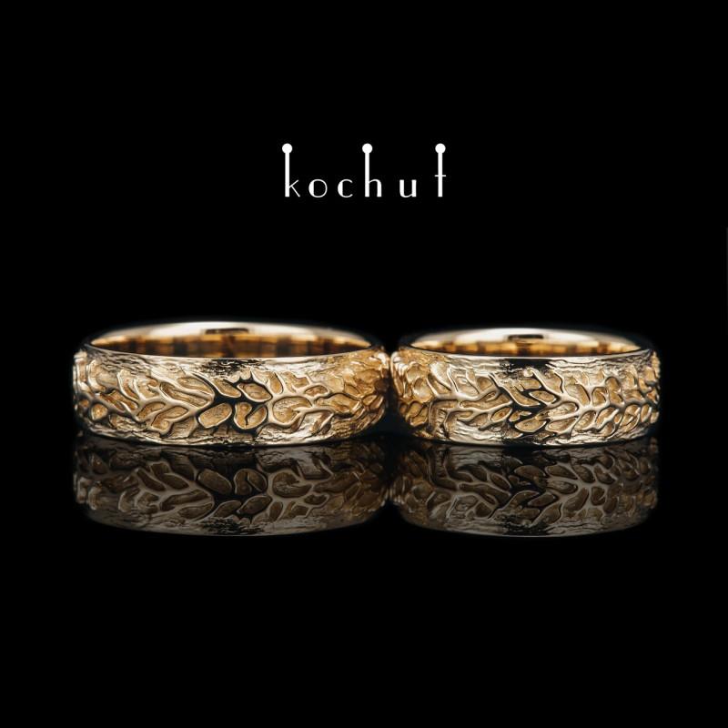 Обручальные кольца «Лесные». Желтое золото