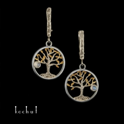 Earrings «Tree of Life». White gold, silver, gilding, moonstone