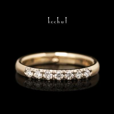 Помолвочное кольцо «Тонкий намек». Желтое и палладиевое золото, бриллианты