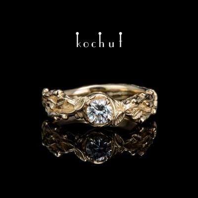 Prsten «Klíčky». Žluté zlato, briliant