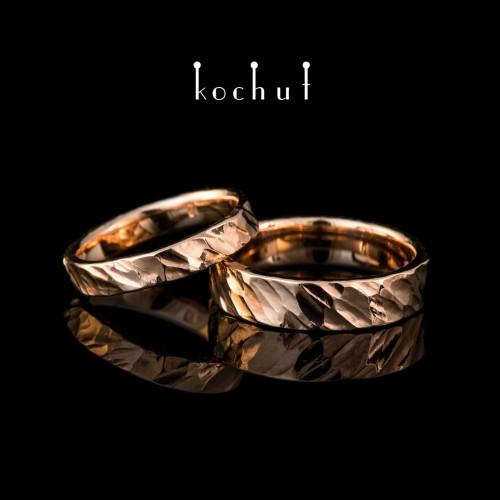 Engagement rings forging Brutal. Red gold