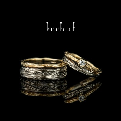 Wedding rings «Eye of the forest». White and yellow gold, diamond
