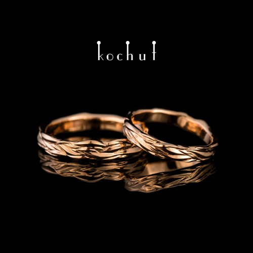 Wedding rings «Waves oflove». Red gold