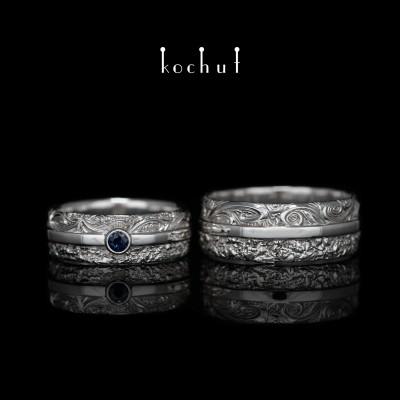 Обручальные кольца «В радости и в печали». Серебро, белый родий, сапфир