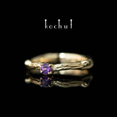 Prsten «Křehká větvička». Žluté zlato, ametyst