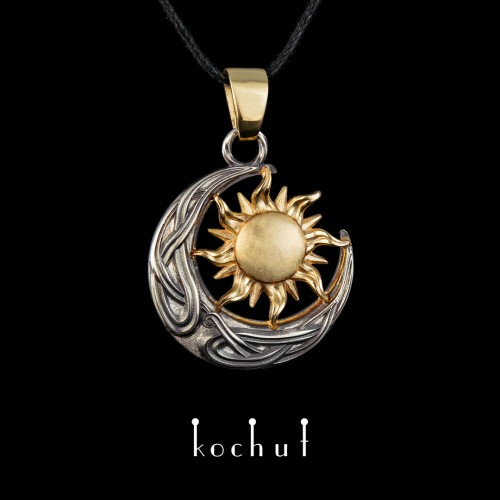 Pendant «Sun and Moon». Silver, yellow gold, white rhodium