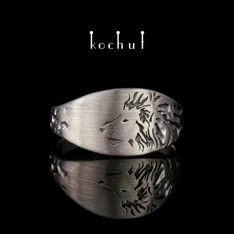 Prsten «Lev». Palladiové zlato, černé rhodium