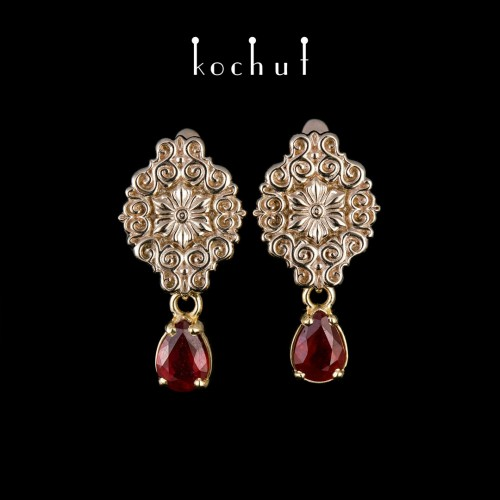 Earrings «Notre Dame». White, yellow gold, rubies