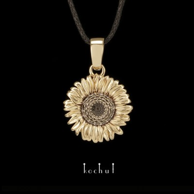 Кулон «Цветок солнца». Желтое золото, черный родий