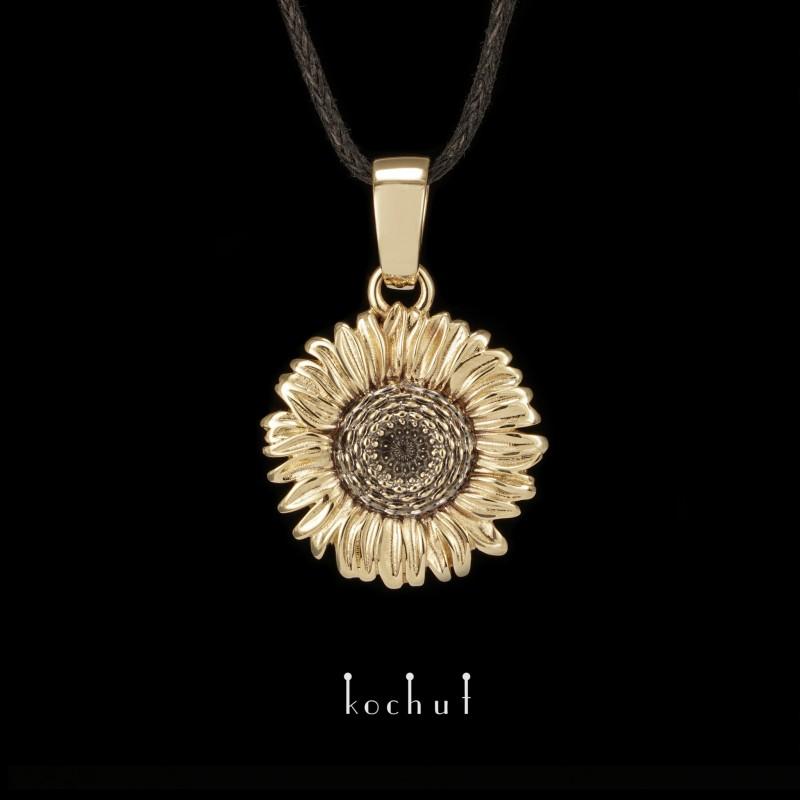 Кулон «Квітка сонця». Жовте золото, чорний родій
