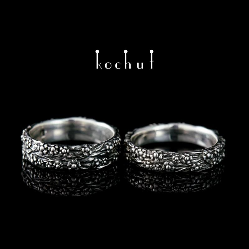 Обручальные кольца «Незабудки». Серебро, оксидирование